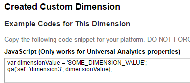 google analytics custom dimension code