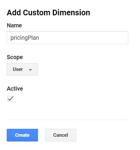 pricingPlan custom dimension