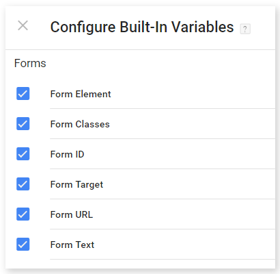 google tag manager form variables