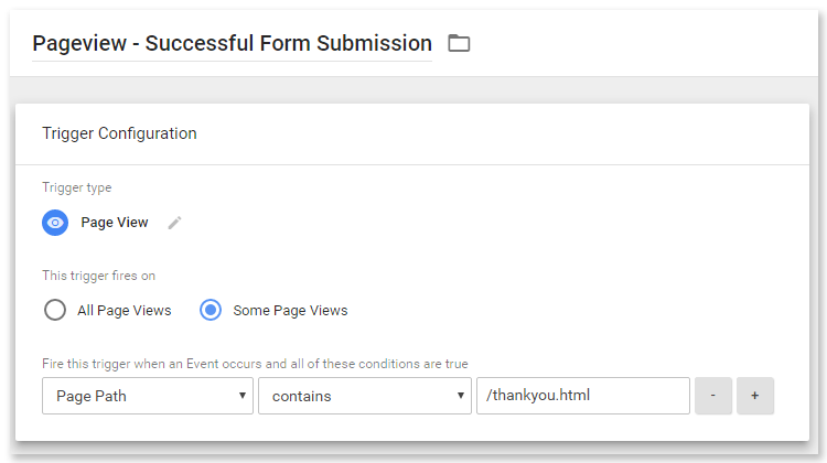 Google tag manager form tracking - pageview success page