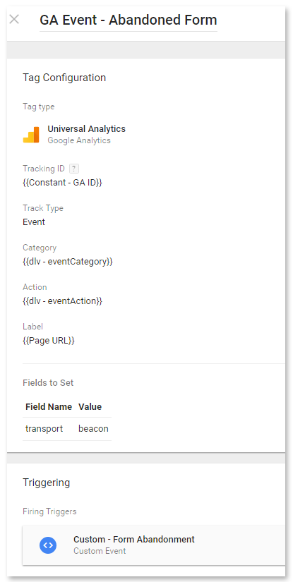 Google Analytics Event tag - Form abandoned