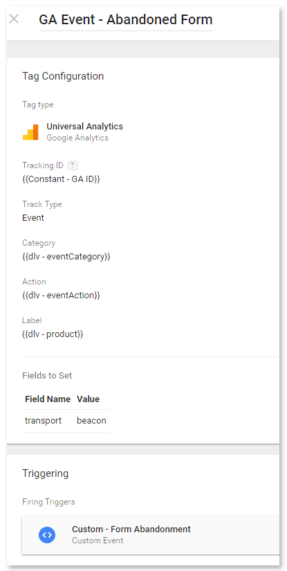 Upgraded Google Analytics Event tag - Form abandoned