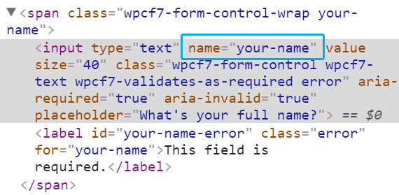 inspect form - name attribute
