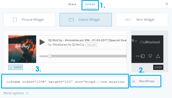 Mixcloud player