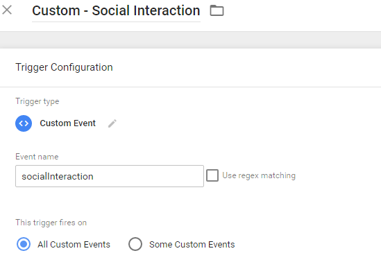 Social Interaction Custom Trigger in GTM