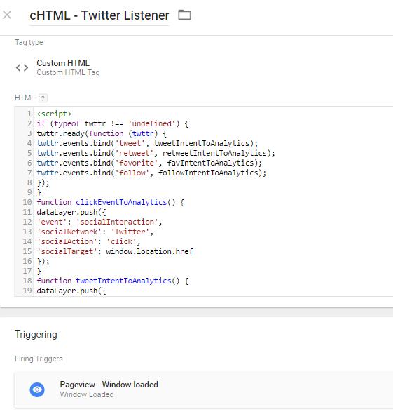 Twitter listener for GTM