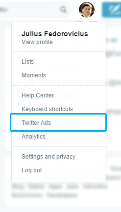 Twitter ads in profile