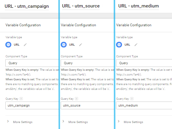 3 URL variables in Google Tag Manager