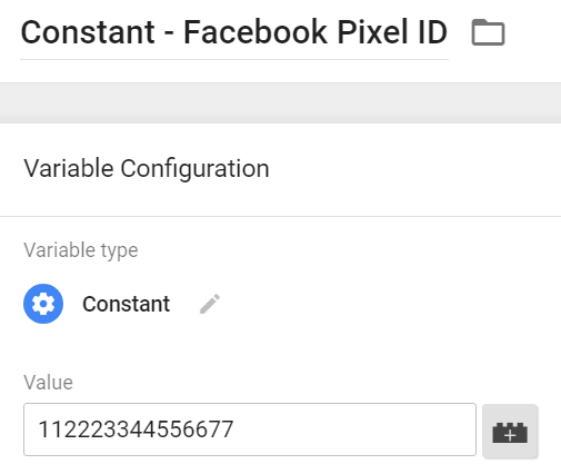 Constant variable Facebook Pixel ID