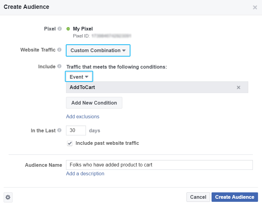 Create custom combination Facebook Conversion Tracking