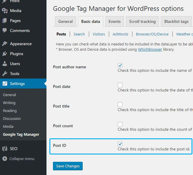 GTM plugin for WordPress