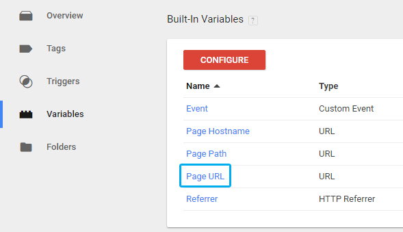 Page URL variable in Google Tag Manager