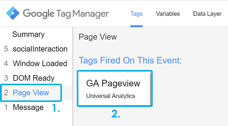 Tags tab in GTM preview and debug mode
