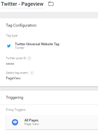 Twitter pageview tag in Google Tag Manager