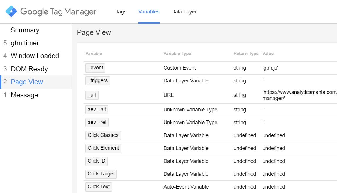 Variables in Google Tag Manager Preview mode