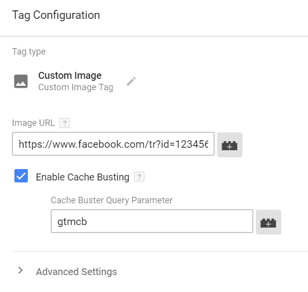 custom image tag - Google Tag Manager Facebook