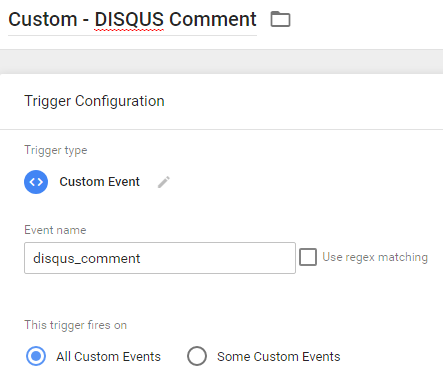 disqus custom event trigger in Google Tag Manager
