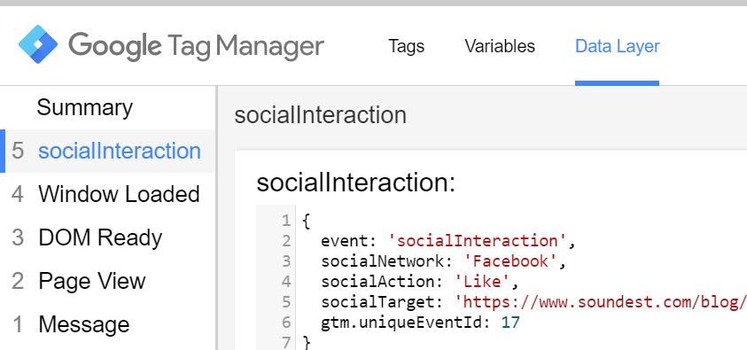 socialInteraction dataLayer event in GTM preview and debug mode
