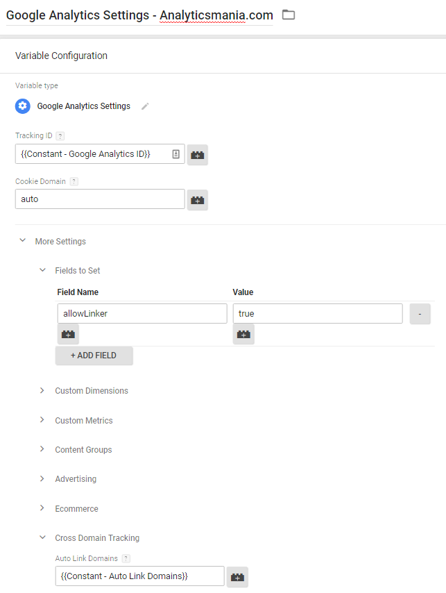 Google Analytics Settings Variable in Google Tag Manager