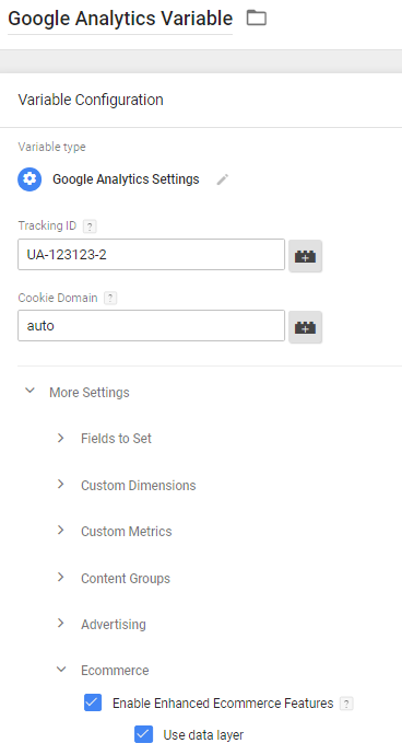 Google Analytics settings variable - Enhanced Ecommerce