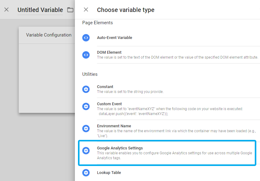 Google Analytics settings variable among other user defined variables