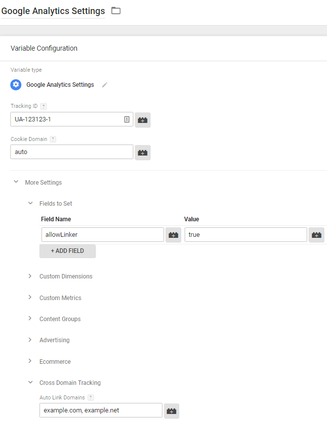 Google Analytics variable - Cross domain tracking