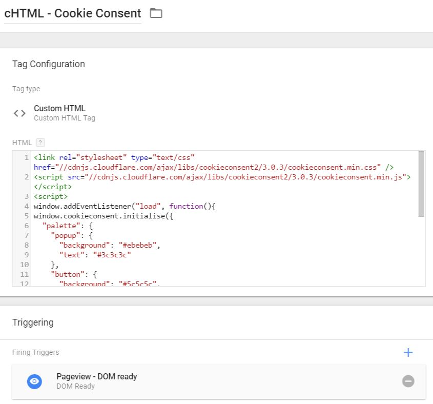 Google Tag Manager Cookie Consent - custom HTML tag