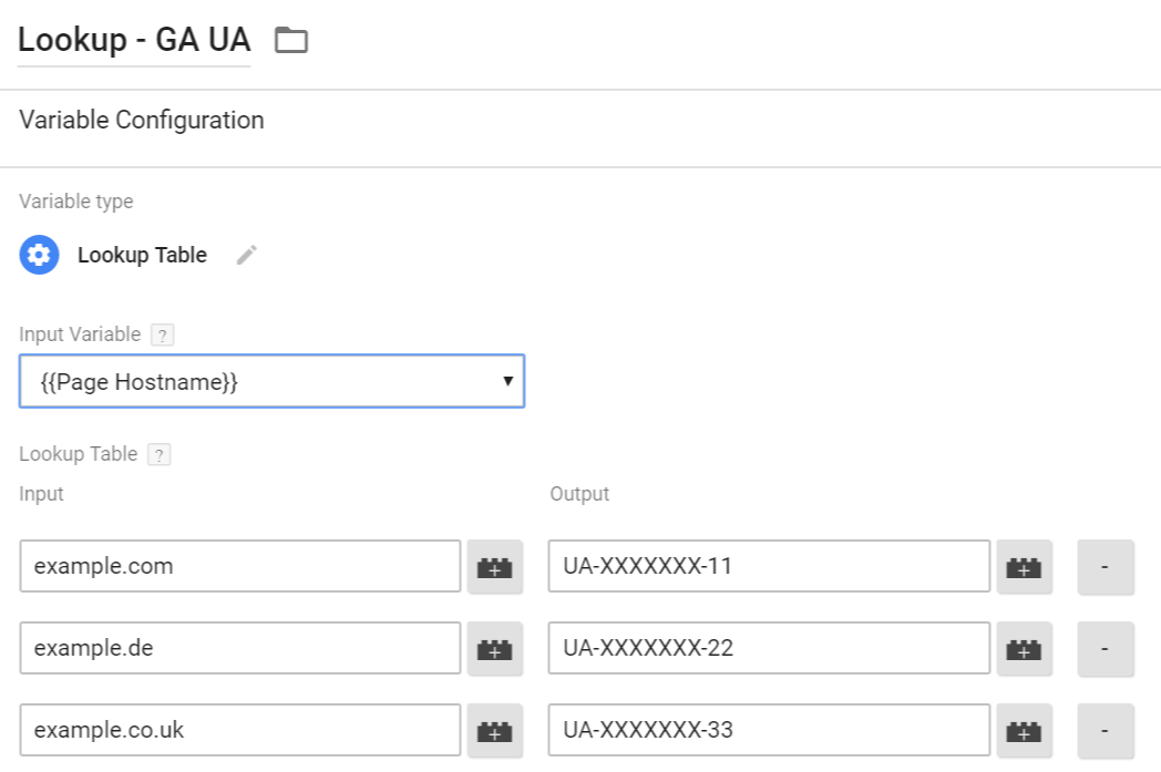 Lookup table Google Tag Manager