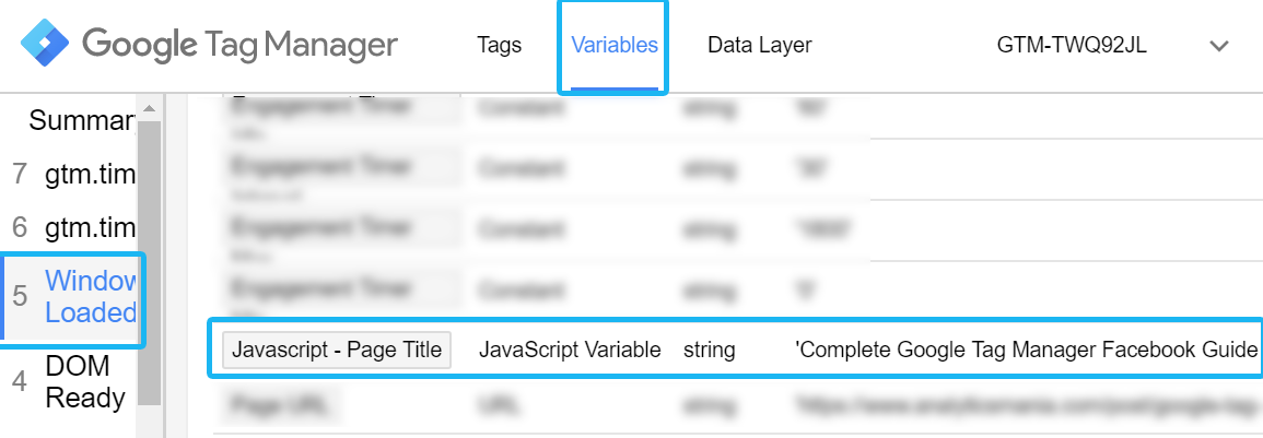 Page title variable in Google Tag Manager preview and debug mode