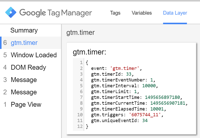 Timer trigger data layer tab