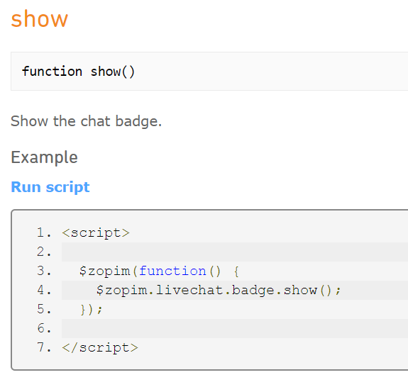 Show Zopim badge Javascript Function