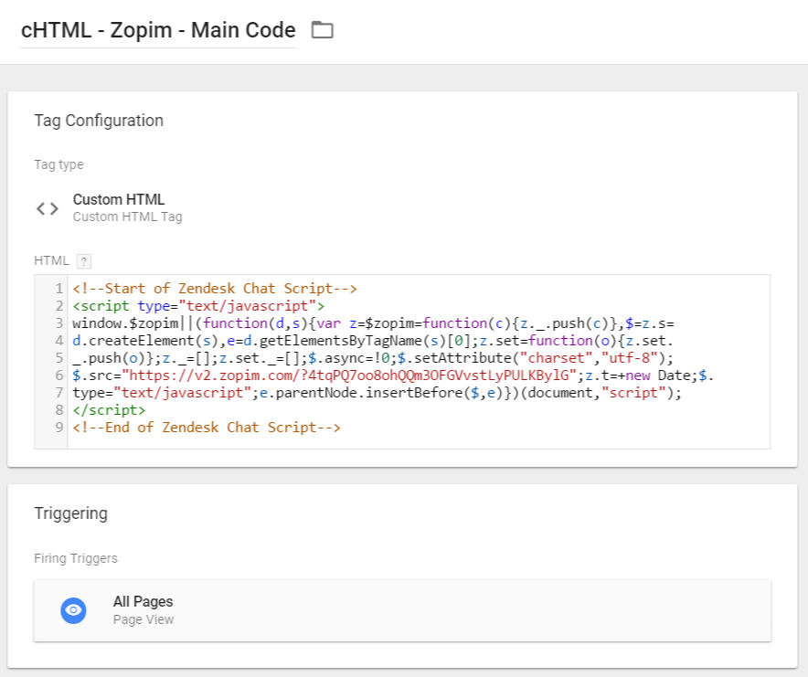 Zopim Custom HTML Tag in Google Tag Manager