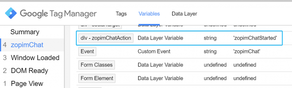 zopimChatAction variable in Google Tag Manager Preview and Debug mode