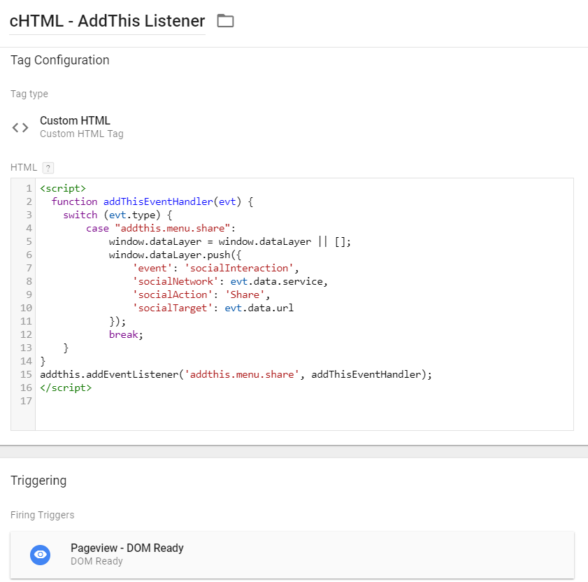 AddThis Custom HTML tag in Google Tag Manager