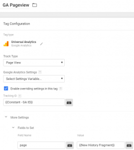 GA Pageview Tag in Google Tag Manager