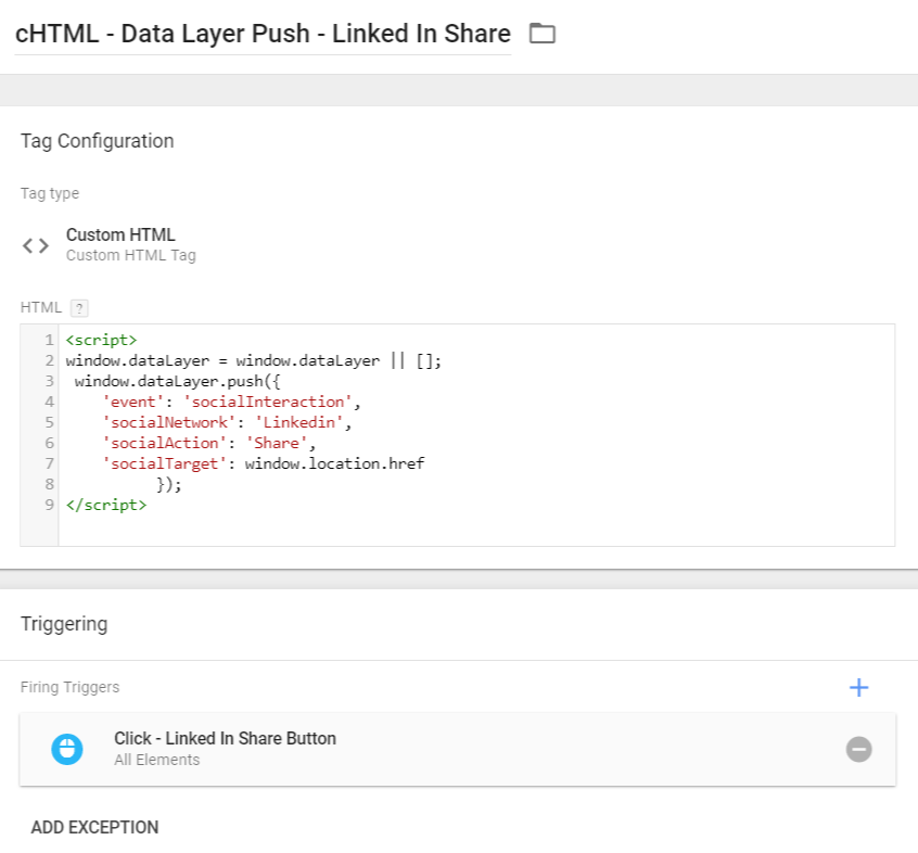 Linkedin share - data layer push - custom html tag