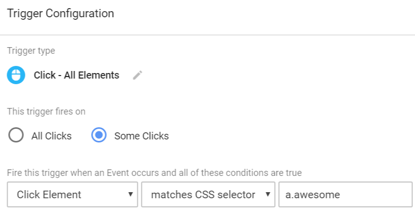 Matches CSS selector - Google Tag Manager