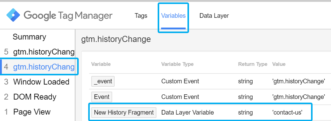 New History Fragment Variable in GTM Preview and Debug Mode