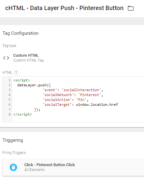 Pinterest share - data layer push - custom html tag