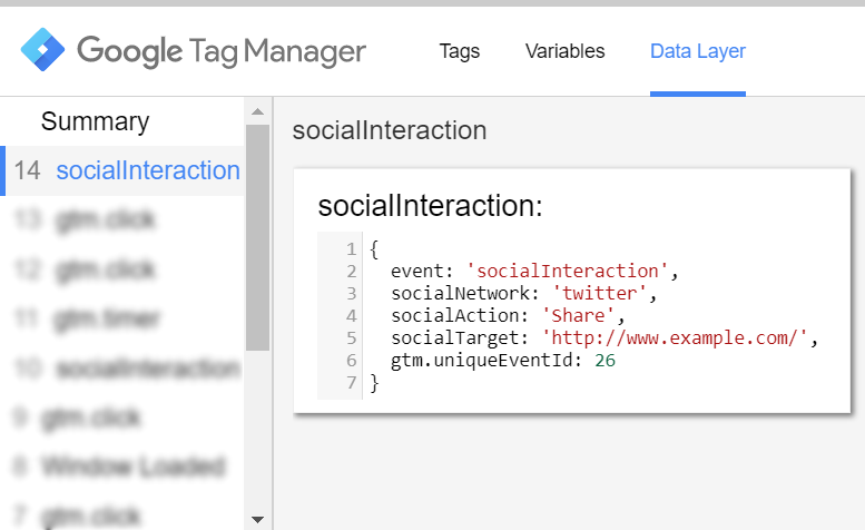 Social Interaction Data Layer Event