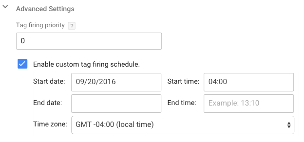 tag scheduling in Google Tag Manager