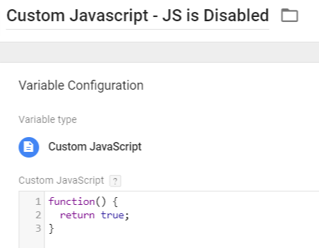 Custom Javascript Variable - JS is disabled