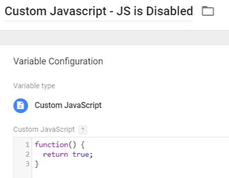 Custom Javascript Variable - JS is disabled