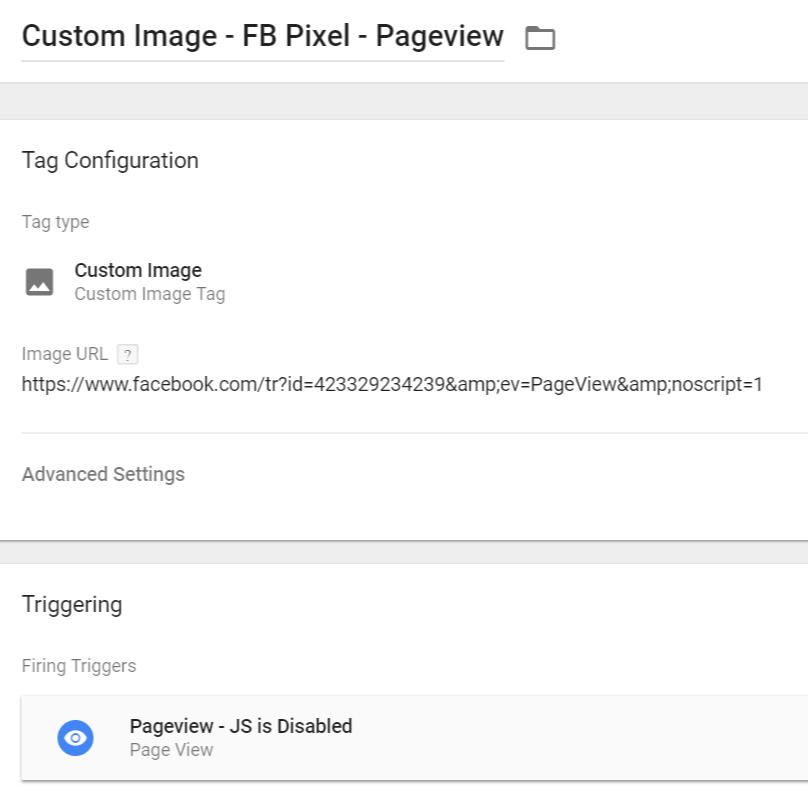 FB Pixel Custom Image Tag