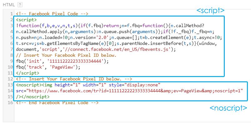 Facebook Pixel Noscript and Script