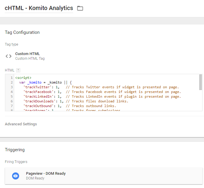 Komito Analytics custom HTML tag
