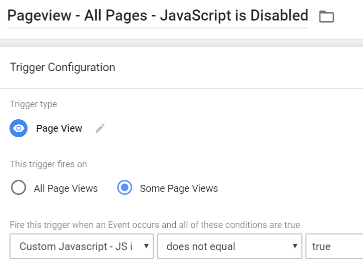 Pageview Tag - JavaScript is Disabled