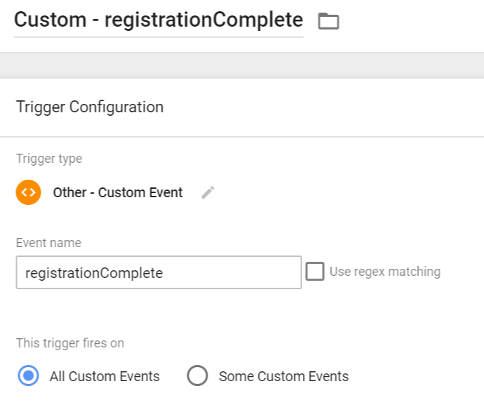 Registration Complete Custom Event Trigger