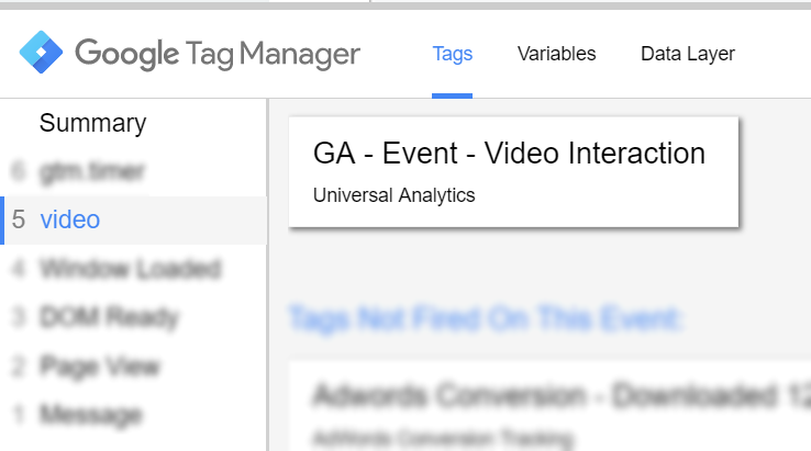 Video Event and Google Analytics Tag