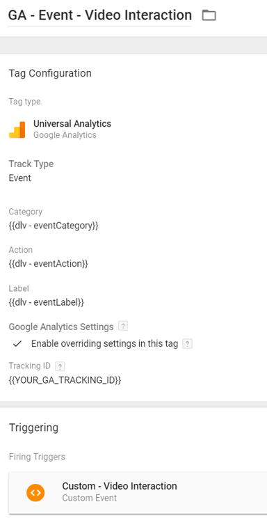Video Interaction - Google Analytics Tag